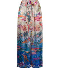 missoni mare beach-print wide leg knit trousers - neutrals