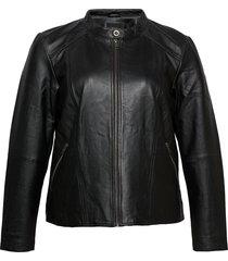leather jacket plus pockets zip close-fitting läderjacka skinnjacka svart zizzi