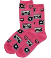 hot sox women's retro music crew socks
