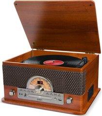 toca discos vinil ion retro c/ 7 formas de reprodução de áudio e conversão digital marrom
