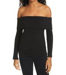 women's eleven six eva off the shoulder sweater, size small - black