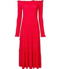 altuzarra smocked off the shoulder maxi dress - red