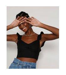 top cropped feminino com linho babado na alça decote princesa preto