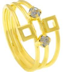 anel horus import puzzle três fios banhado ouro 18 k dourado