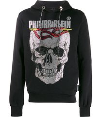 philipp plein flame hooded sweatshirt - black