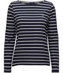 breton stripe boatneck jumper t-shirts & tops long-sleeved blauw gant