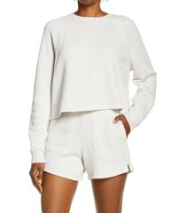 women's madewell mwl airtyterry crop sweatshirt, size medium - grey
