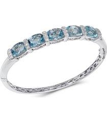 blue topaz (14 ct. t.w.) & diamond (1/8 ct. t.w.) bangle bracelet in sterling silver