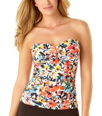 anne cole sunset floral twist-front tankini top women's swimsuit