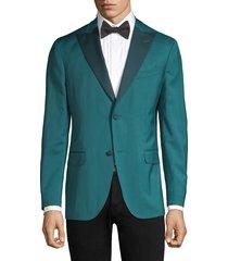 boglioli men's lapel virgin wool single-breasted blazer - aqua - size 56 (46) r