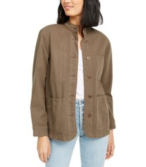 oat cotton stand-collar utility jacket