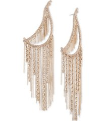 givenchy gold-tone crystal & chain fringe statement earrings
