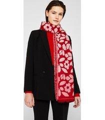 bufanda con rayas y flores rojo esprit