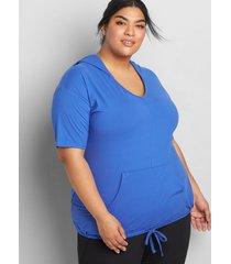 lane bryant women's livi soft short-sleeve pull-over hoodie 34/36 dazzling blue