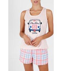 pyjama's / nachthemden admas pyjama shorts tank top zomer furgo koraal adma's