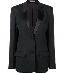 bottega veneta satin lapel blazer - black