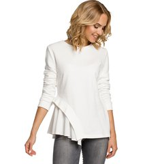 asymetryczna bluzka-ecru(m-333)