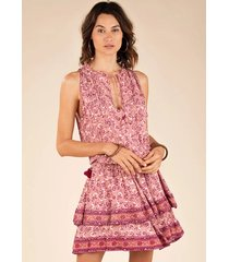 poupette st barth mini amora layered dress pink cerise