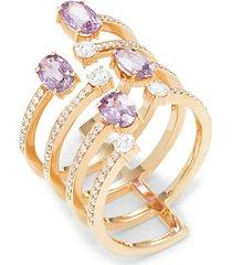 spectrum 18k rose gold, sapphire & diamond midi ring