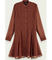 scotch & soda drapey peplum style long sleeve dress