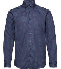 jacquard shirt l/s overhemd casual blauw lindbergh