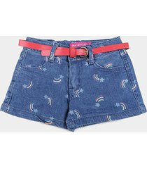 shorts jeans infantil plural kids c/ cinto estrela cadente menina