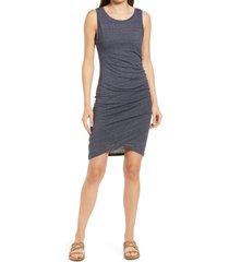 women's treasure & bond ruched side sleeveless dress, size medium - blue