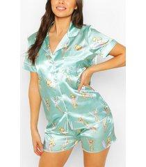 disney tinkerbell pyjama met shorts, muntgroen