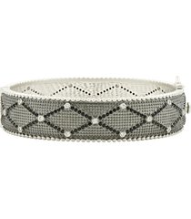 freida rothman industrial finish textured crystal bracelet in black/silver at nordstrom