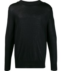 ami ribbed crew neck knitted jumper - black