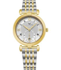 alexander watch a202b-02, ladies quartz small-second date watch with yellow gold tone stainless steel case on yellow gold tone stainless steel bracelet