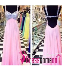 backless pink evening dress princess with beaded straps open back party gowns