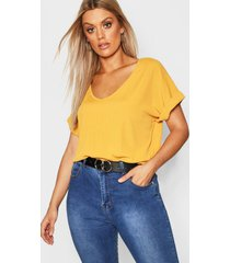 plus basic rib oversized t-shirt, mustard