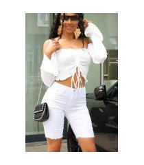 sexy capri-driekwarts hoge taille-jeansshorts wit