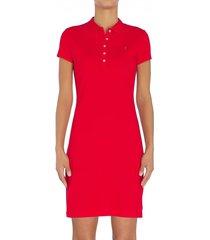 vestido polo de corte slim rojo tommy hilfiger
