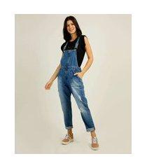 macacão feminino zíper bolsos zune jeans