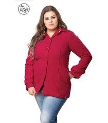 casaco madame modelagem grande de lã batida vermelho
