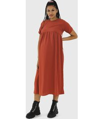 vestido missguided maternity puff slv midi smock terracota - calce holgado
