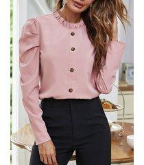 camicetta casual da donna a maniche lunghe con bottoni in tinta unita