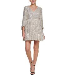eliza j sequinned tiered fit & flare dress