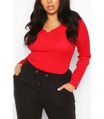 geribd t-shirt met lange mouwen en inkeping aan de voorkant in plusmaten, rood