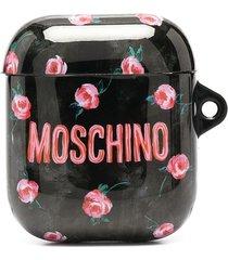 moschino floral logo print airpods case - black