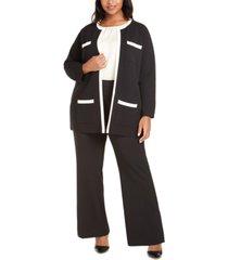 anne klein plus size paris contrast-trim cardigan