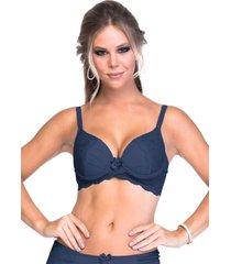 suti㣠sempre sensual lingerie cruzado renda azul marinho - azul marinho - feminino - dafiti