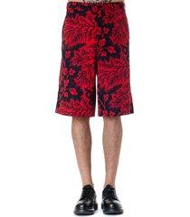 alexander mcqueen black & red viscose shorts