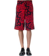 alexander mcqueen black & red viscose shorts