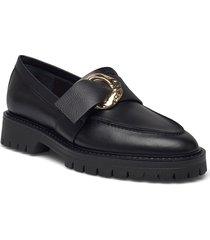 stella black leather loafers låga skor svart flattered