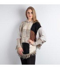 poncho feminino de malha patchwork sumaré 30985 - feminino