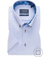 korte mouw ledub overhemd modern fit blauw