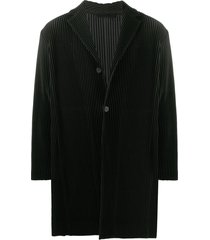 homme plissé issey miyake basic single breasted coat - black